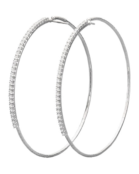 Mattia Cielo 18k White Gold Diamond-Front Hoop Earrings