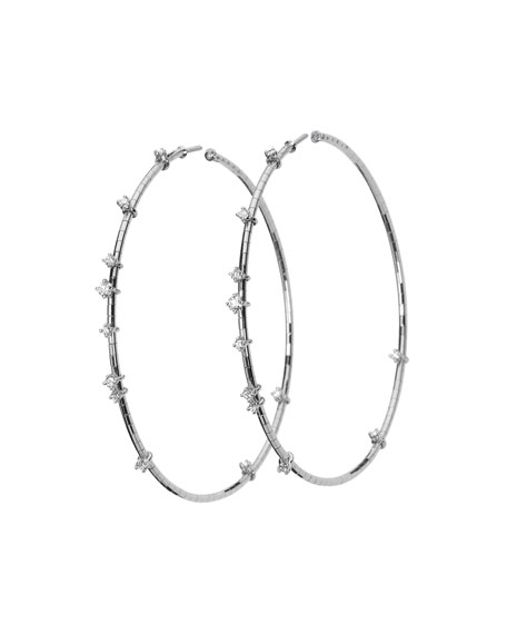 Mattia Cielo 18k White Gold Diamond Hoop Earrings