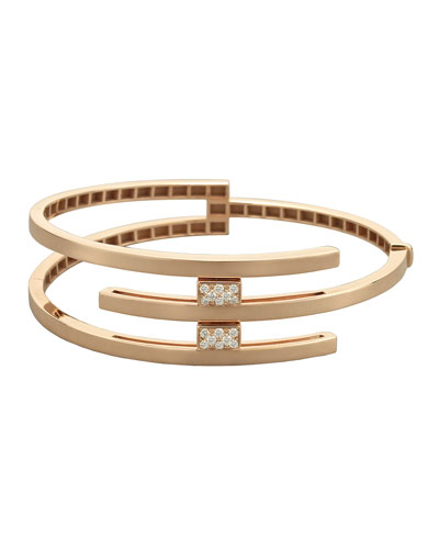 18k Rose Gold 3-Row & Diamond Pave Bracelet