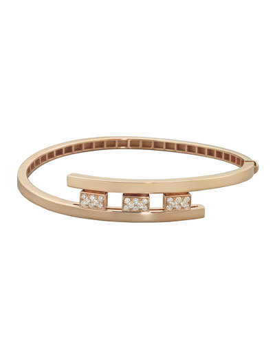 18k Rose Gold 3-Diamond Pave Bracelet