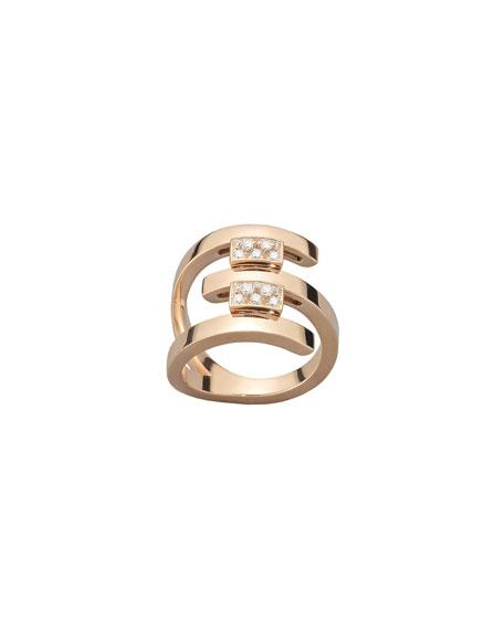 Mattia Cielo 18k Rose Gold 3-Row Diamond Ring, Size 5.5