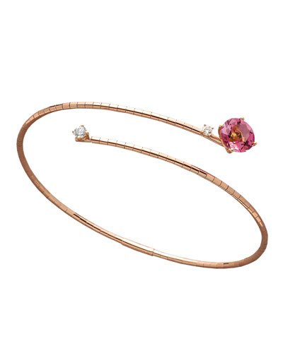 18k Rose Gold Pink Tourmaline & Diamond Coil Bracelet