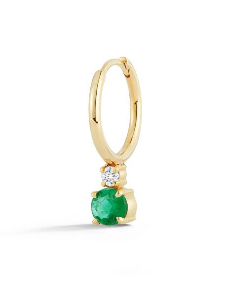 Jemma Wynne 18k Yellow Gold Prive Petite Single Huggie Earring w/ Emerald & Diamond