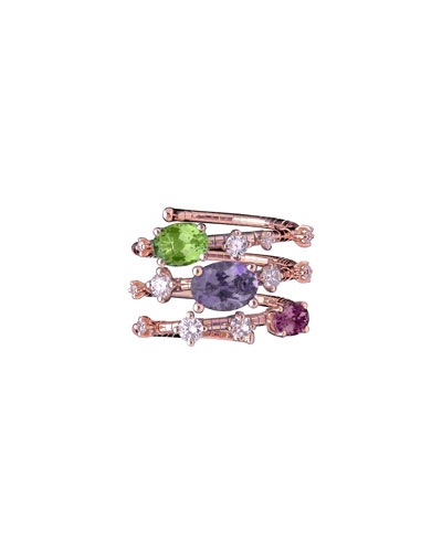 18k Rose Gold Diamond & Mixed-Stone Wrap Ring  Size 6.5-6.75