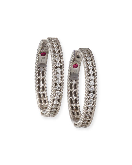Roberto Coin Diamond Symphony Barocco 18k White Gold Diamond Hoop Earrings