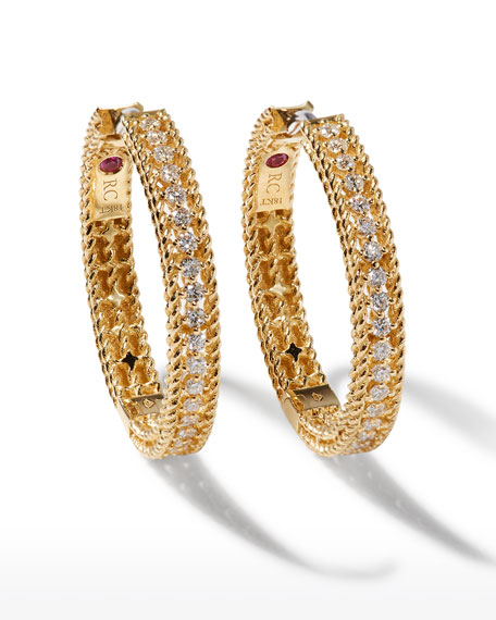 Roberto Coin Diamond Symphony Barocco 18k Yellow Gold Diamond Hoop Earrings