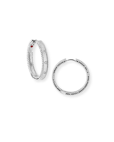 Roberto Coin Princess 18k White Gold Diamond Hoop Earrings
