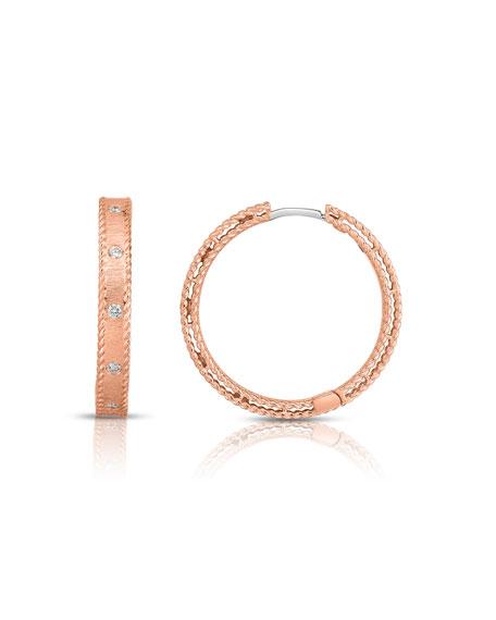 Roberto Coin Princess 18k Rose Gold Diamond Hoop Earrings