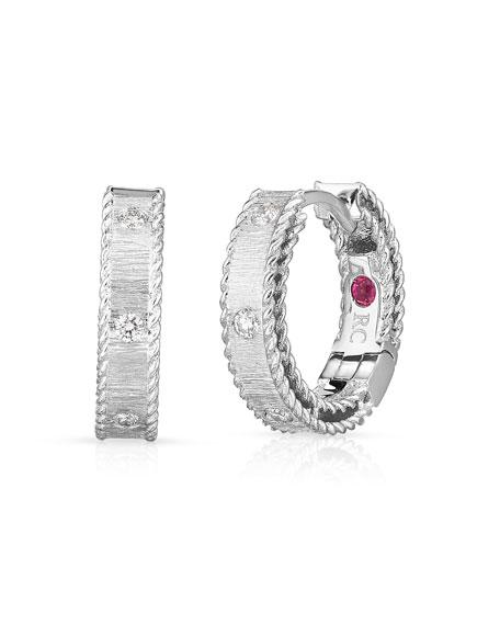 Roberto Coin Princess 18k White Gold Diamond Huggie Earrings