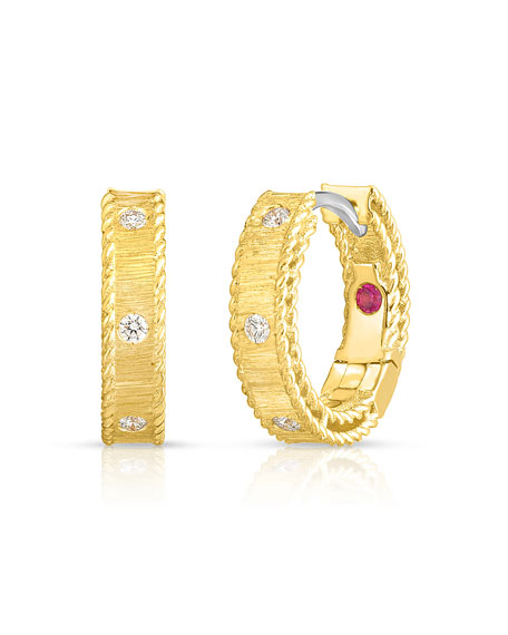 Roberto Coin Princess 18k Yellow Gold Diamond Huggie Earrings