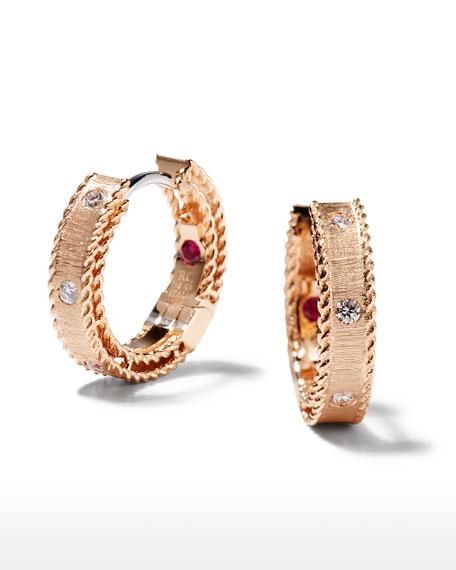 Roberto Coin Princess 18k Rose Gold Diamond Huggie Earrings