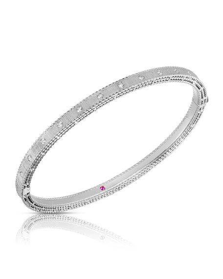 Roberto Coin Princess 18k White Gold Diamond Bangle, Petite