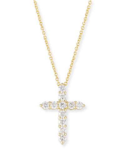 Tiny Treasure 18k Gold Diamond Cross Necklace