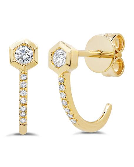 Ron Hami Love Bolt 14k Diamond Hook Earrings