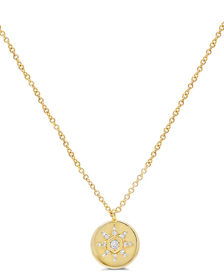 Ron Hami 14k Small Diamond Starstruck Medallion Pendant Necklace