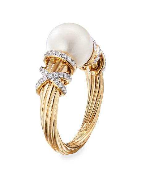 David Yurman Helena 18k Pearl & Diamond Ring, Size 6