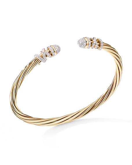 David Yurman Helena 18k Diamond End-Station Bracelet, Size L