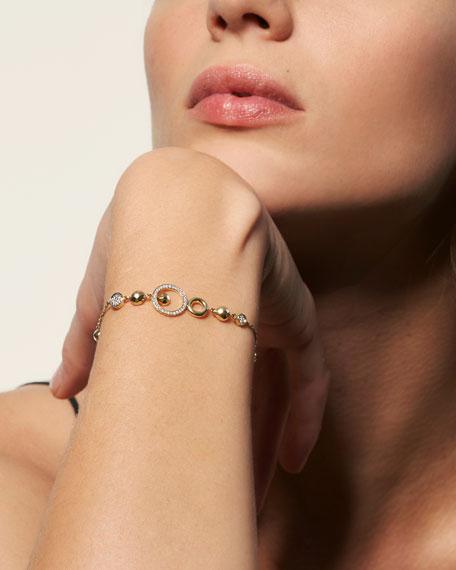 John Hardy 18k Hammered Station Bracelet w/ Diamonds, Size M-L