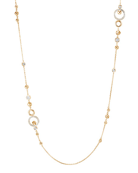 "John Hardy 18k Long Hammered Station Necklace w/ Diamonds, 36""L"