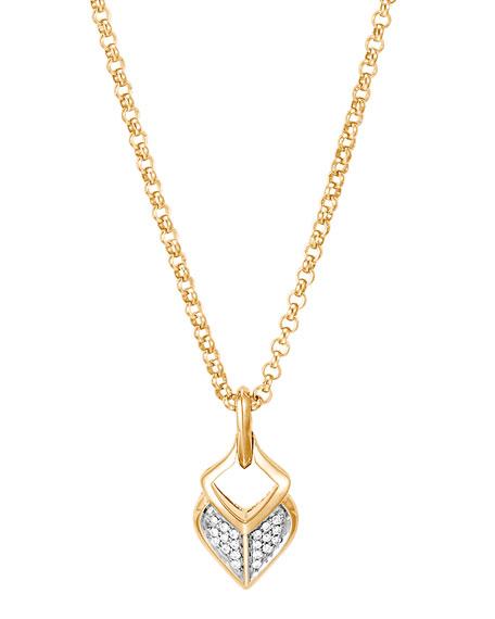 John Hardy Naga 18k Gold Diamond Scale Pendant Necklace