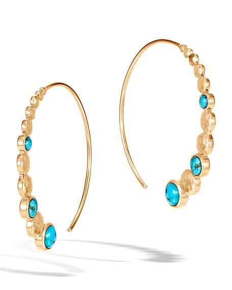 John Hardy 18k Hammered Medium Hoop Earrings w/ Turquoise