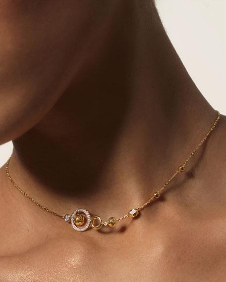 John Hardy 18k Hammered Station Necklace w/ Diamonds