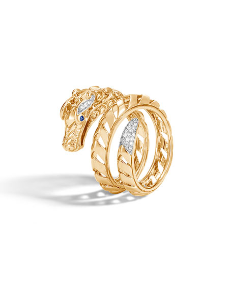 John Hardy Naga 18k Gold Coiled Ring w/ Diamonds, Size 7