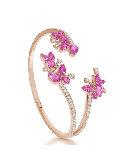 Hueb 18k Rose Gold Pink Sapphire Pear & Diamond Bracelet