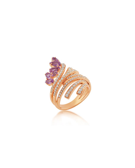 Hueb Mirage 18k Rose Gold Pink Sapphire & Diamond Ring