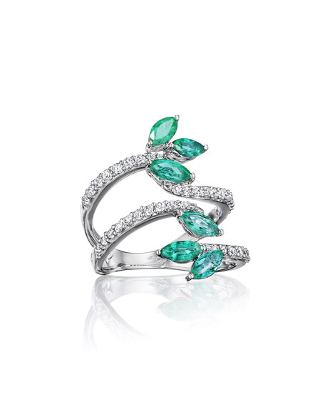 Hueb Botanica 18k White Gold Emerald & Diamond 4-Row Ring