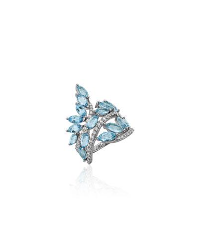 Botanica 18k White Gold Aquamarine & Diamond Ring