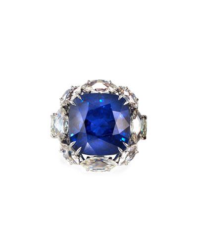 18k White Gold Sapphire Cushion Ring w/ Diamonds