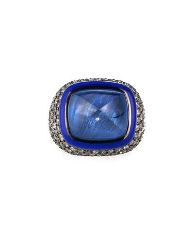 18k White Gold Blue Sapphire Pyramid & Diamond Ring