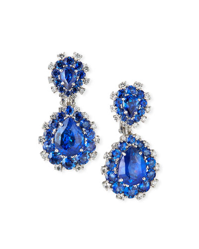 18k White Gold Sapphire Pear & Diamond Drop Earrings