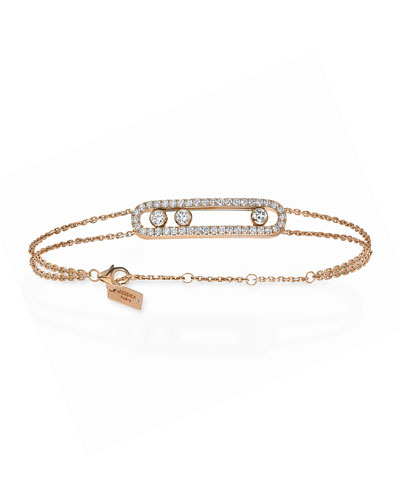 Move Diamond Pave Bracelet  Rose Gold