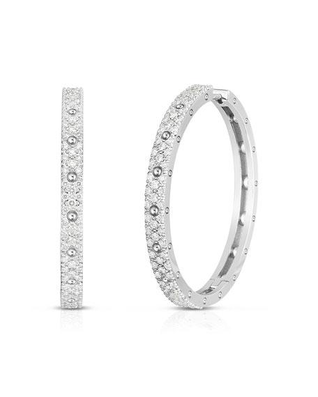 Roberto Coin Pois Mois 18k White Gold Diamond Hoop Earrings, 30mm