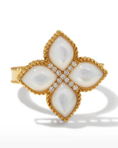 Venetian Princess 18k Mother-of-Pearl Ring w/ Diamonds  Size 6.5