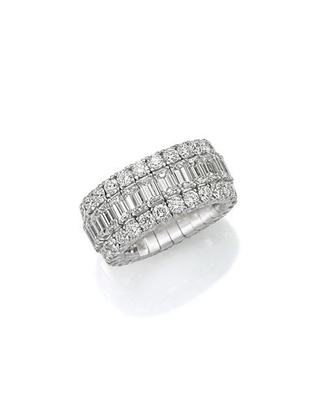 Picchiotti Xpandable 18k White Gold Emerald-Cut Diamond Ring, Size 6.5-9.75