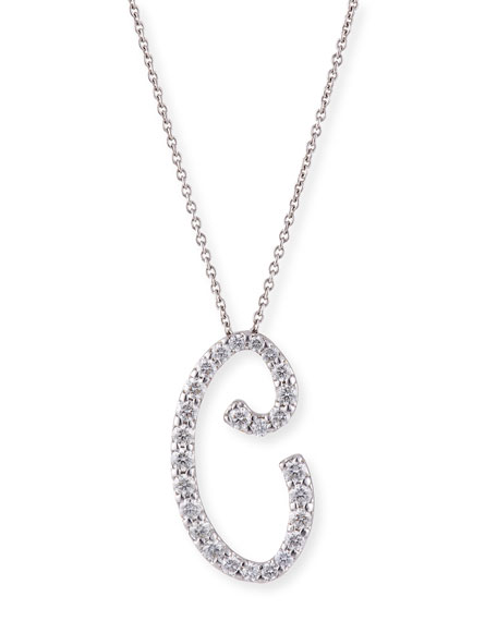 Roberto Coin 18k White Gold Diamond Pave Large Script Initial B Necklace