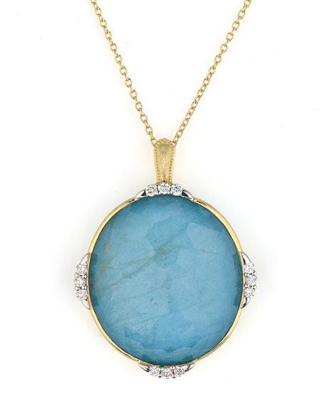 Jude Frances Lisse Triple Diamond Pave Oval Stone Pendant