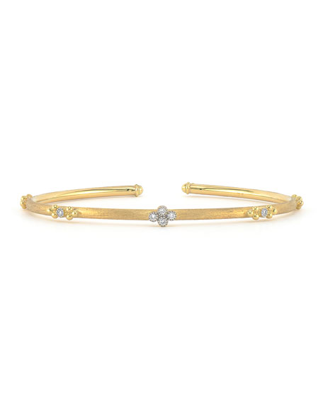 Jude Frances Provence 18k Flexible Brushed Bangle w/ Diamonds