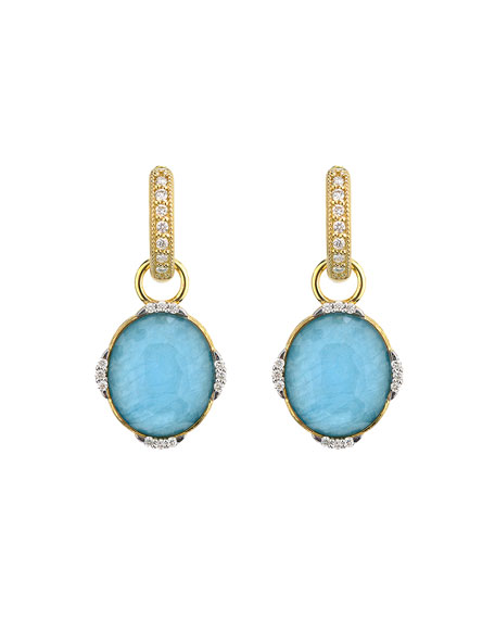 Jude Frances Lisse 18k Apatite Triplet Oval Earring Charms w/ diamonds