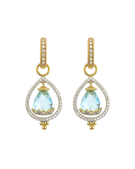 Jude Frances Provence Hanging Briolette Pear Halo Earring Charms