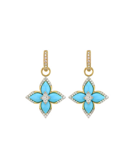 Jude Frances Moroccan Flower Earring Charms, Turquoise
