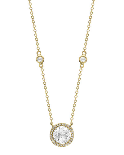 Grace 18k White Topaz & Diamond Halo Necklace