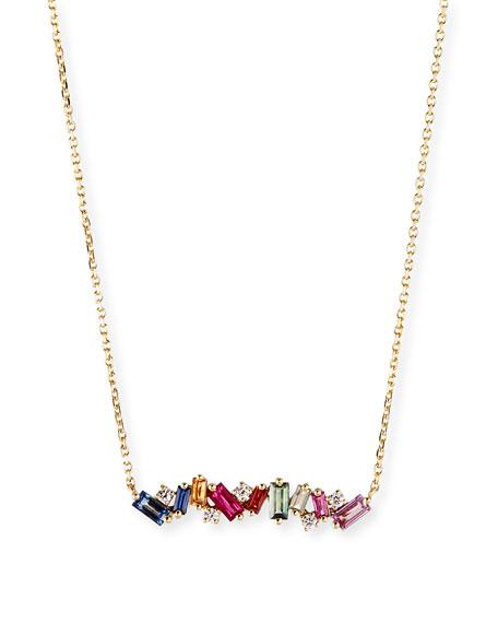 Suzanne Kalan 18K DIAMOND & BAGUETTE BAR NECKLACE W/ RAINBOW SAPPHIRES