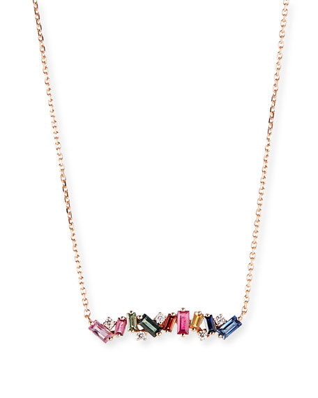 Suzanne Kalan 18k Rose Gold Diamond & Baguette Bar Necklace w/ Rainbow Sapphires