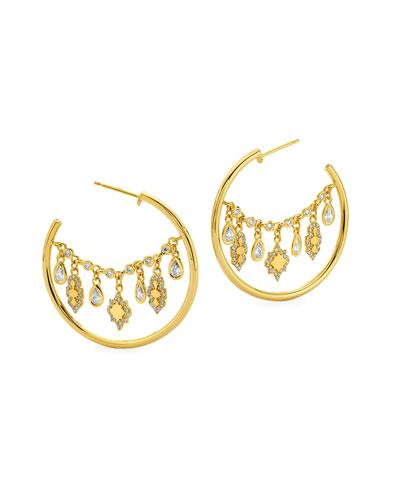 20k Small Diamond Lantern Hoop Earrings