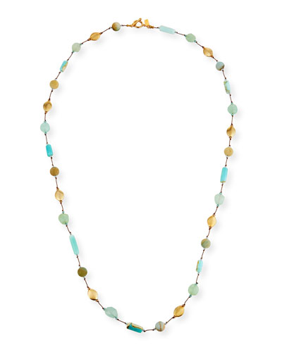 Long Opal & Chalcedony Necklace