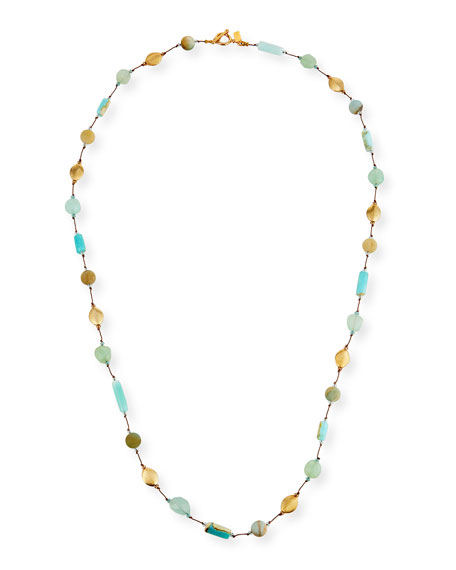 Margo Morrison Long Opal & Chalcedony Necklace